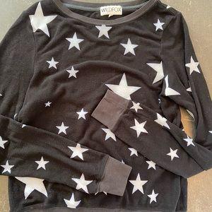 Black Wildfox sweatshirt with white stars, sz S
